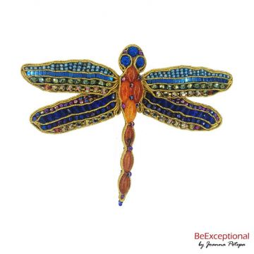 Soutache hand embroidered brooch Dragonfly