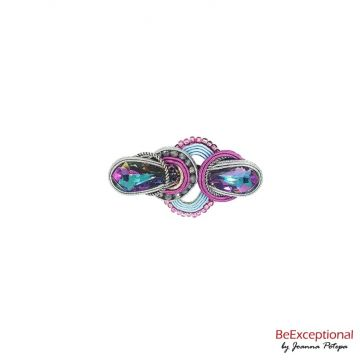 Soutache hand embroidered brooch Zetar