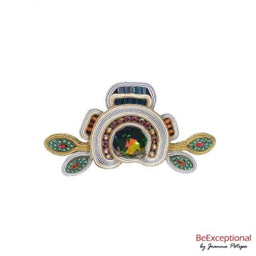 Soutache hand embroidered brooch Mori