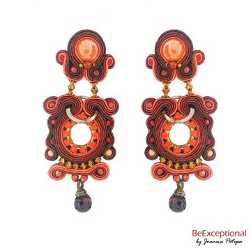 Soutache hand embroidered earrings Azteca