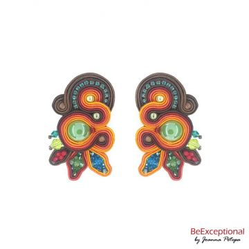 Soutache hand embroidered earrings Carnaval