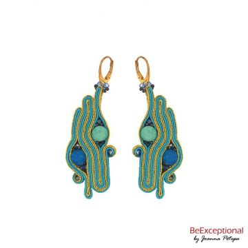 Soutache hand embroidered earrings Duo