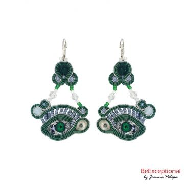 Soutache hand embriodered earrings Green Eyes