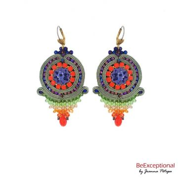 Soutache hand embroidered earrings Malon