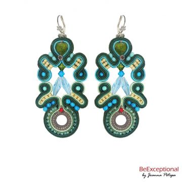 Soutache hand embroidered earrings Lear