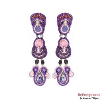 Soutache hand embroidered earrings Lavender
