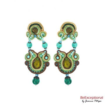 Soutache hand embroidered earrings Olive