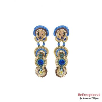 Soutache hand embroidered earrings Safron