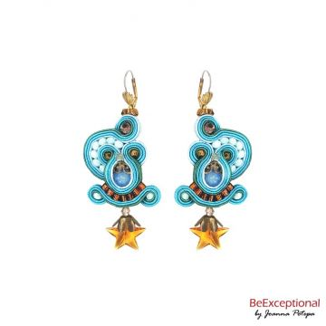 Soutache hand embroidered earrings Stars