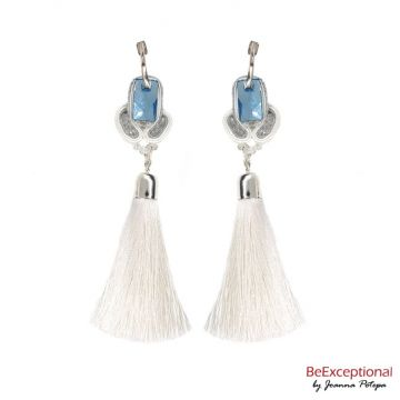 Hand embroidered earrings Snig with a tassel.