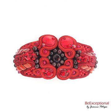 Soutache hand embroidered brooch Tagra
