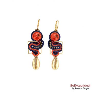 Hand embroidered Goshel O earrings
