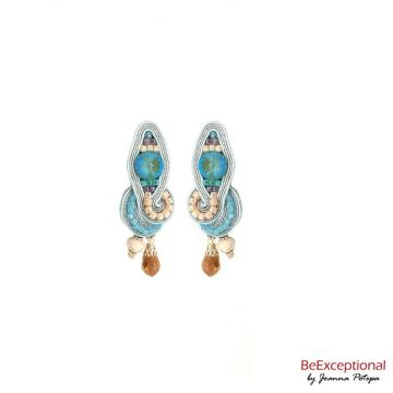 Hand embroidered earrings Pastel Blue