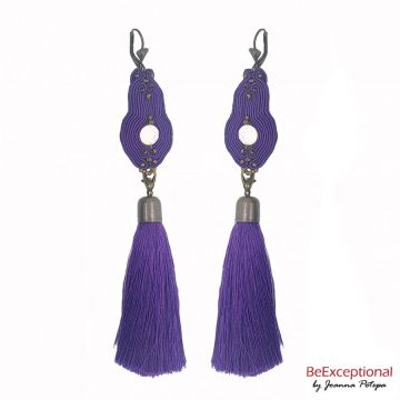 Hand embroidered earrings Forcas with attached tassel.
