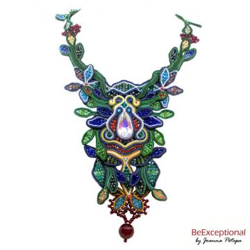 Soutache hand embroidered necklace Amazons