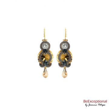 Soutache hand embroidered earrings City Barcelona
