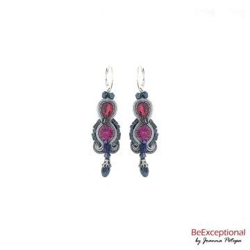 Soutache hand embroidered earrings City Berlin