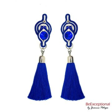 Hand embroidered earrings Boreall with attached tassel.