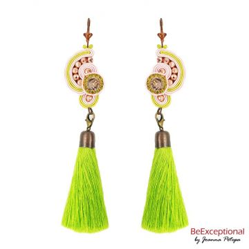 Hand embroidered earrings Evora with a tassel.