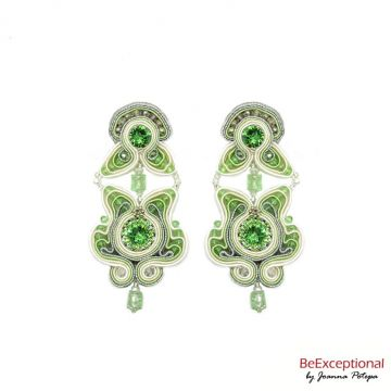 Soutache hand embroidered earrings Fern