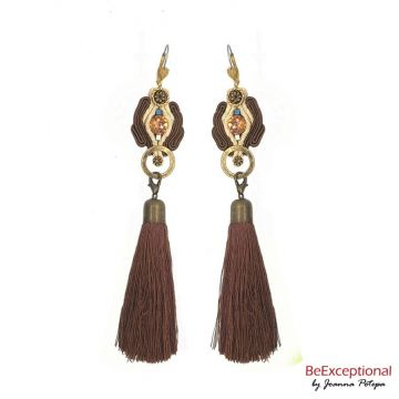 Hand embroidered earrings Giro with tassel