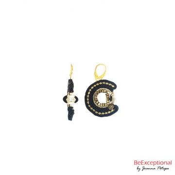 Hand embroidered earrings Eclipse Kerl G