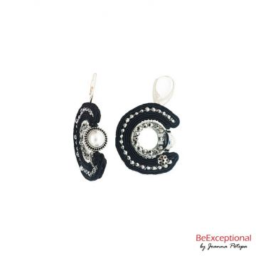 Hand embroidered earrings Eclipse Kerl S