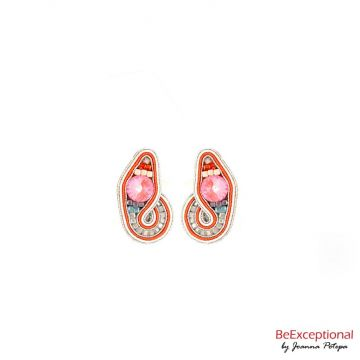 Hand embroidered earrings Pastel-Love Orange