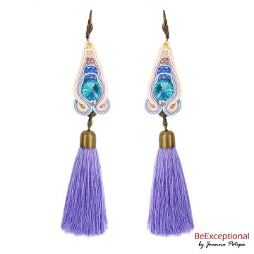 Hand embroidered earrings Ori with tassels