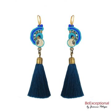 Hand embroidered earrings Reina with attached tassel.
