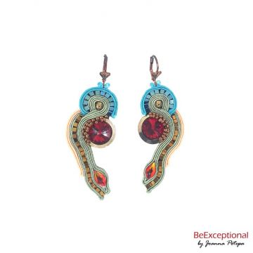 Hand embroidered earrings Skyline Suven