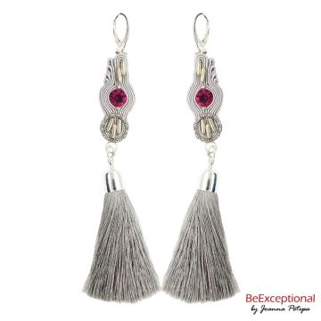 Hand embroidered earrings Tulax with tassel