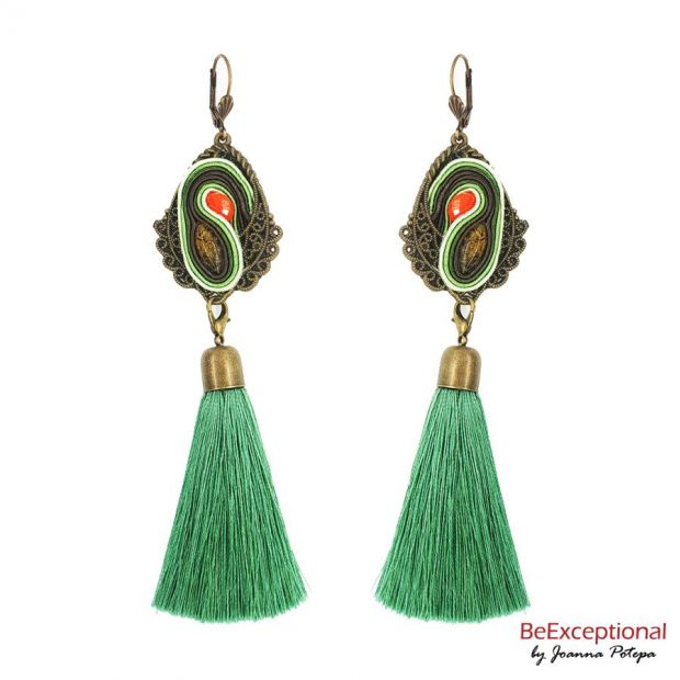 Hand embroidered earrings Green Amber with attached tassel.