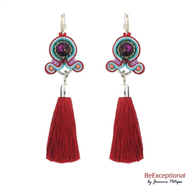 Hand embroidered earrings Fiesta with attached tassel.